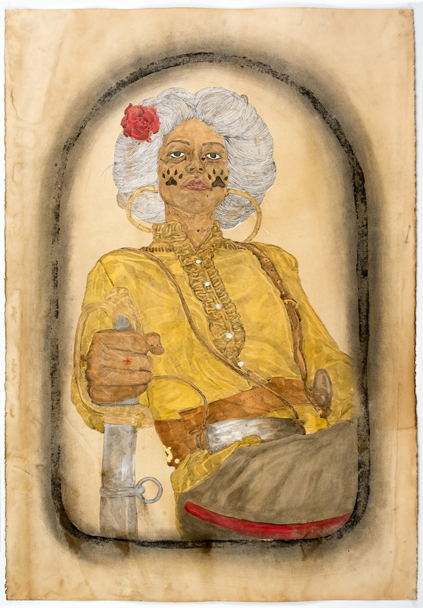Frohawk Two Feathers, Irene of the Sisters of the Red Wood, 2014, acrylic, ink, and coffee and tea on paper. COURTESY MORGAN LEHMAN GALLERY.