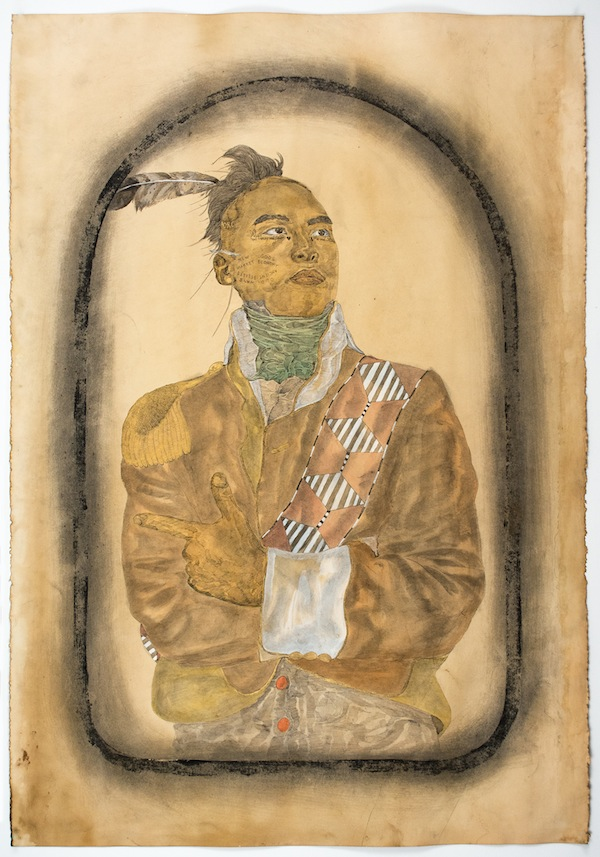 Frohawk Two Feathers, Chief Joseph, 2014, acrylic, ink, and coffee and tea on paper. COURTESY MORGAN LEHMAN GALLERY.
