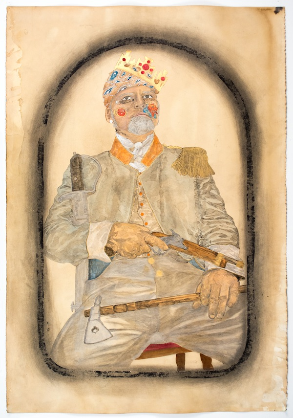 Frohawk Two Feathers, King Arend of New Holland, 2014, acrylic, ink, and coffee and tea on paper. COURTESY MORGAN LEHMAN GALLERY.