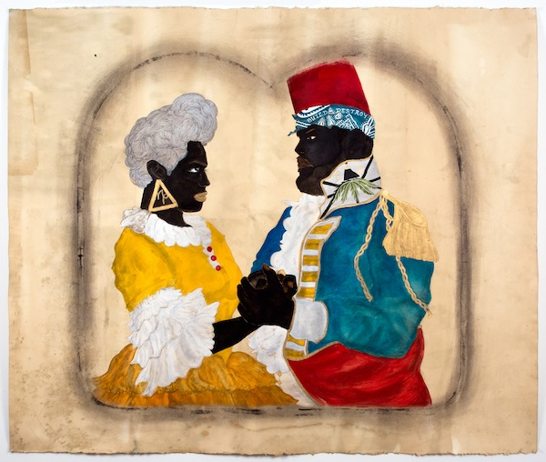Frohawk Two Feathers, Horace and Isabel, 2014, acrylic, ink, and coffee and  tea on paper. COURTESY MORGAN LEHMAN GALLERY.