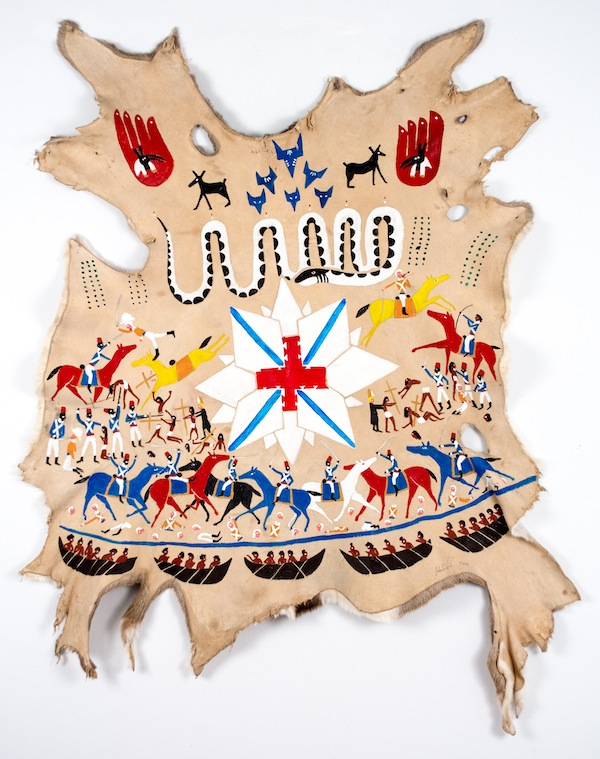Frohawk Two Feathers, The Fall of Avalon and the purge of the Christians. A victory robe made for Bonnie Prince Johnnie by an unknown Cree., 2014, acrylic on deer skin. COURTESY MORGAN LEHMAN GALLERY.