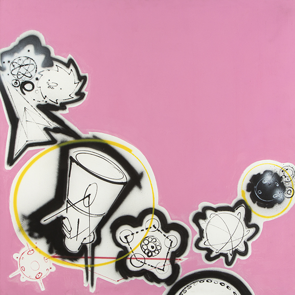 Futura 2000, Pink Spraycan, 1983, acrylic and spray paint on canvas. COURTESY OF THE MUSEUM OF THE CITY OF NEW YORK.
