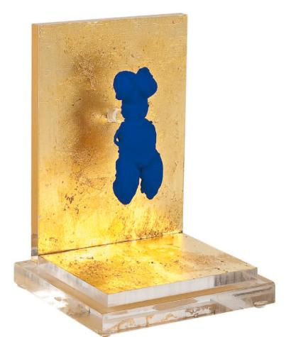 Yves Klein, Petite Vénus Bleue, 1956/57, brass pin, International Klein Bleue pigment, gold-leaf, acrylic, number 54 from an edition of 500, $12,000. COURTESY ARTWARE EDITIONS, NEW YORK.