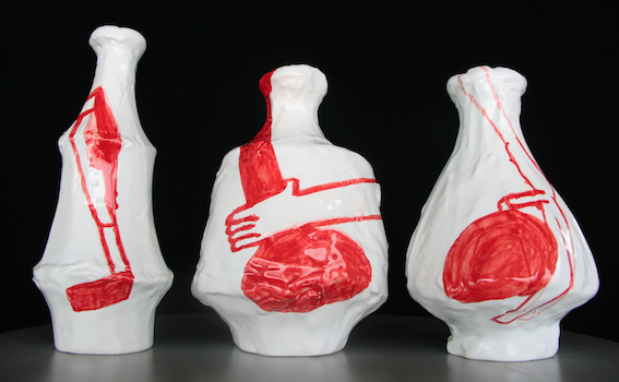 Amy Sillman, set of three ceramic vases. COURTESY THE INSTITUTE OF CONTEMPORARY ART, BOSTON.