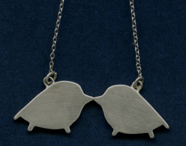 Kissing Pipers necklace, sterling silver on a 18 inch  chain, $125.