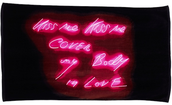 Double-size beach towel featuring Tracey Emin's neon work Kiss me Kiss me Cover my Body in Love (2010), velour cotton, $95.
