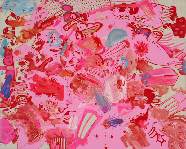 Sue Williams, Pink Pentagon, 2013, oil on canvas. COURTESY 303 GALLERY, NEW YORK.