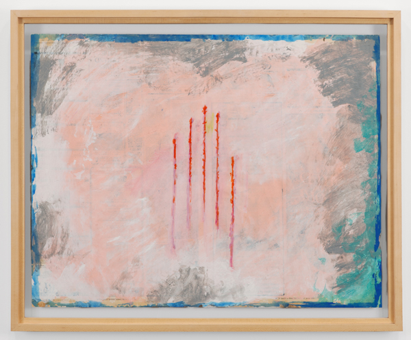 Paul Thek, Untitled (Five Vertical Red Lines), 1981, acrylic and gesso on newspaper. © ESTATE OF GEORGE PAUL THEK. COURTESY ALEXANDER AND BONIN, NEW YORK/WATERMILL CENTER COLLECTION. PHOTO: BILL ORCUTT.
