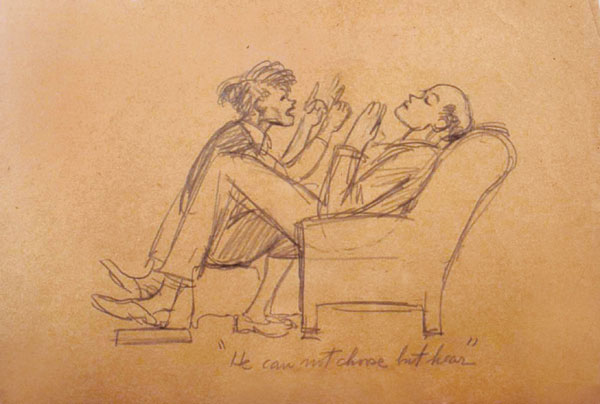 "Edward Hopper drew caricatures to express sour feelings toward his wife, Jo, as seen in ""He can not choose but hear.""   All sketches ca. 1933–52.  COURTESY ARTHAYER R. SANBORN HOPPER COLLECTION TRUST"