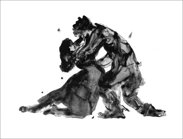 """Porgy and Bess, embracing,"" a lithograph from Kara Walker's illustrated libretto.COURTESY ARION PRESS, SAN FRANCISCO"