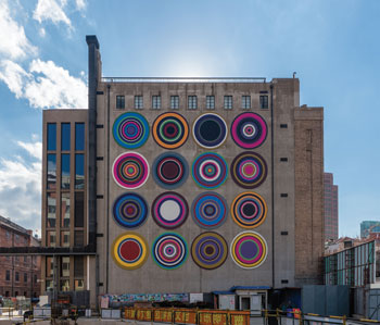Rockbund Art Museum with Bharti Kher's Target Queen, 2014, on the facade.©BHARTI KHER/COURTESY THE ARTIST and ROCKBUND ART MUSEUM, SHANGHAI
