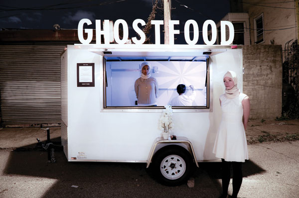 "Actors run the GhostFood mobile trailer, created by Miriam Simun and Miriam Songster, part of ""Marfa Dialogues/New York.""COURTESY GHOSTFOOD"