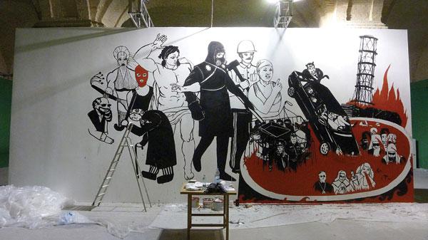 Volodymyr Kuznetsov's unfinished mural, Koliyivshchyna: The Last Judgment, was dubbed immoral and covered with black paint. COURTESY VOLODYMYR KUZNETSOV