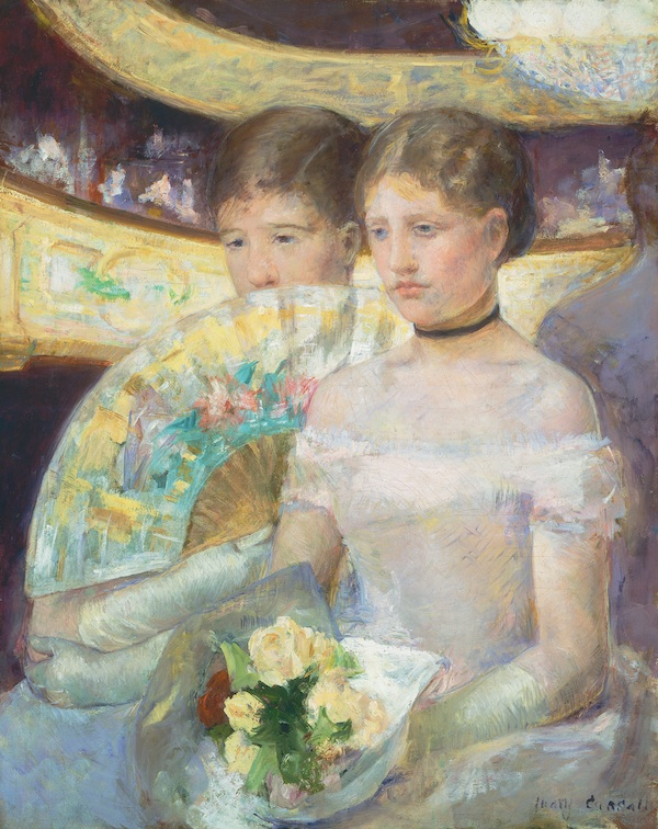 Mary Cassatt, The Loge, c. 1878-80, oil on canvas. COURTESY NATIONAL GALLERY OF ART, WASHINGTON, CHESTER DALE COLLECTION.