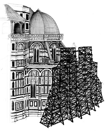 A contemporary artist imagines the scaffolding that might have been used to lift David to the roofline of Florence Cathedral.ANDREW C. RUBIN