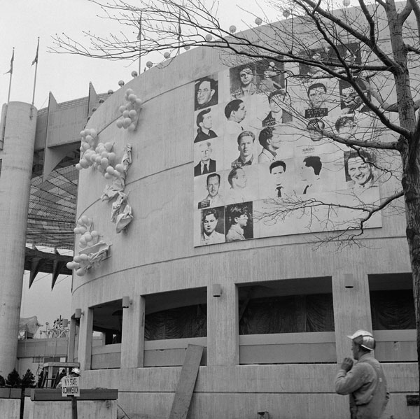 Andy Warhol's mural for the 1964 World's Fair in Queens, New York, before it was destroyed.©BETTMAN/CORBIS/ARS, NEW YORK