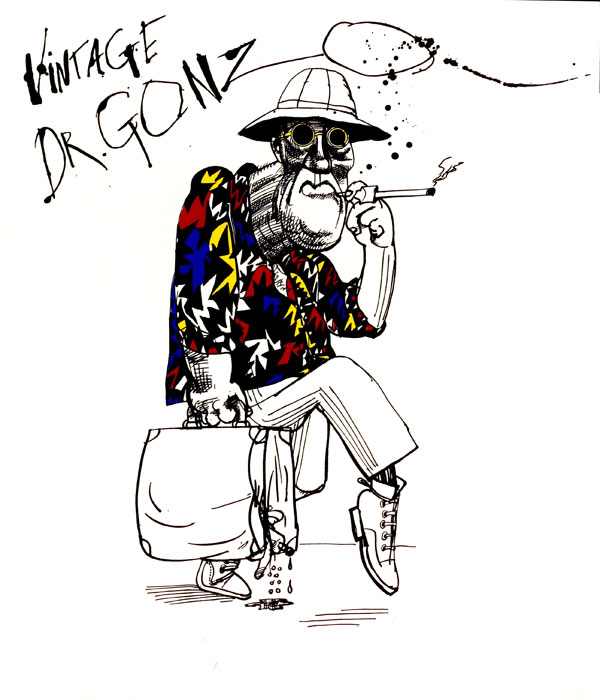 A 1995 caricature of Hunter S. Thompson by Steadman. SONY PICTURES CLASSICS