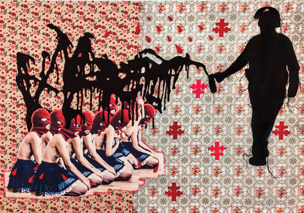 In Megalomania, 2013, the Cathara Insurgent Women are brought to their knees.COURTESY BRAVINLEE PROGRAMS, NEW YORK