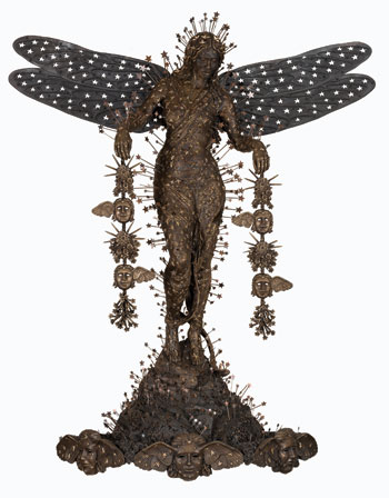 The bronze sculpture Selene, 2013, which updates a Greek goddess in the figure of a black woman, is informed by the Baroque, Art Nouveau, Victorian fairy tales, and more.DAMIAN GRIFFITHS/COURTESY THE ARTIST AND HALES GALLERY, LONDON