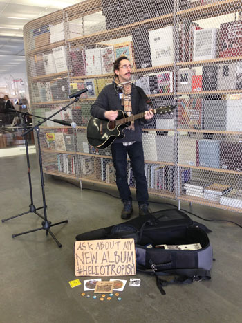 Gio Andollo, one of the 50-plus street musicians providing a soundtrack to Paweł Althamer's current show at the New Museum. COURTESY NEW MUSEUM, NEW YORK