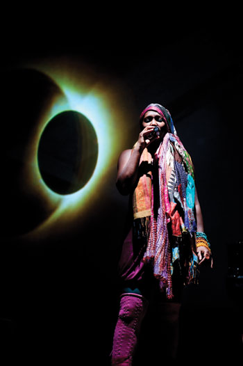 Sanford Biggers's band, Moon Medicine, at the Rubin Museum of Art in New York. Shown here is guest vocalist Imani Uzuri. MICHAEL PALMA