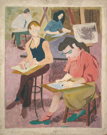 Pearlstein painted Warhol and Eleanor Simon in art class, 1946–47. COURTESY PHILIP PEARLSTEIN