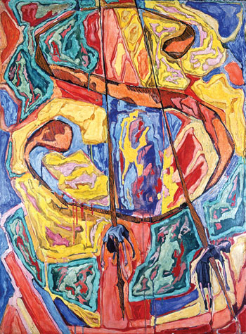 Pearlstein was so struck by the power of his 1949 image of a dollar-sign and dead children that he used it again, in Dollar Sign, 1949–50. But he was more interested in creating a painting than in making a statement and enmeshed the image in clouds of bright color.COURTESY PHILIP PEARLSTEIN
