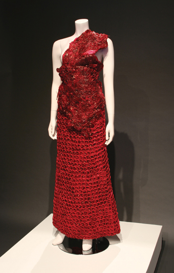 "Adriana Bertini's Encarny, 2006, composed of 4,697 condoms that had ""failed the quality-control test.""  ADRIANA BERTINI COLLECTION"