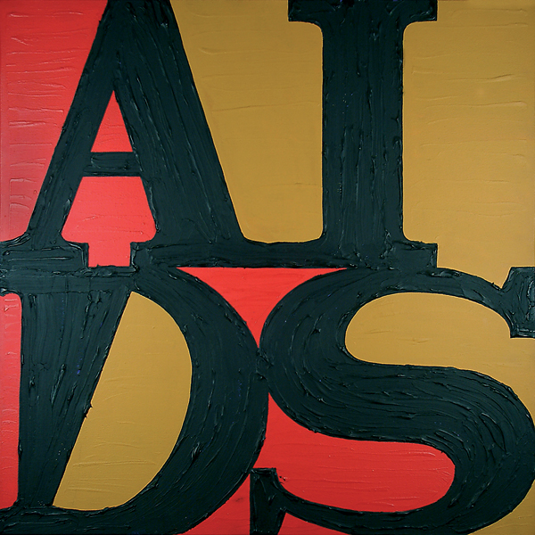General Idea's iconic AIDS wallpaper, 1989, takes off on Robert Indiana's LOVE logo. COURTESY NEUE GESELLSCHAFT FÜR BILDENDE KUNST, BERLIN
