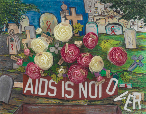 Edith Alvarez's 2012 mixed-media work AIDS is Not Over.  VISUAL AIDS/COURTESY THE ARTIST