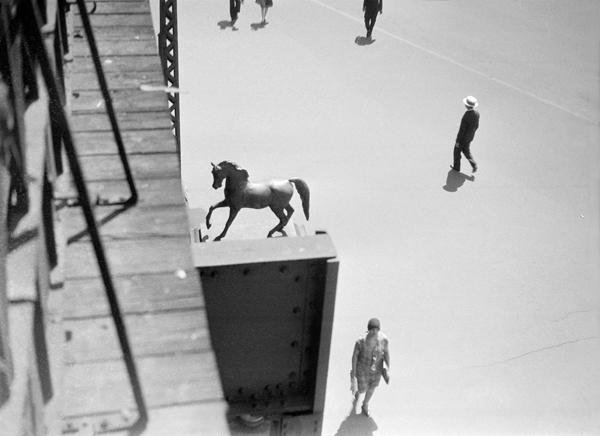 Berenice Abbott's View from elevated platform near Lincoln Square at Columbus Avenue and Broadway, ca. 1929—31. THE UNKNOWN BERENICE ABBOTT/PUBLISHED BY STEIDL/STEIDL.COM