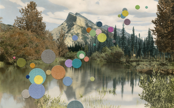 Landscape with Mountain, 2013, features brightly colored circles embroidered on a found photograph. ©JULIE COCKBURN/COURTESY YOSSI MILO GALLERY, NEW YORK