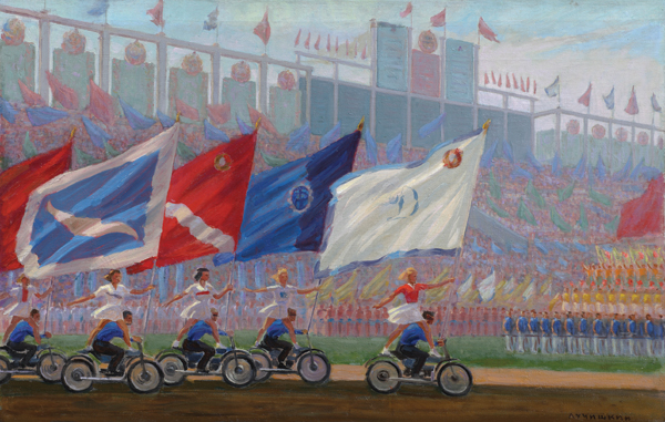 Sergey Luchishkin, An Athletes' Parade at the Dynamo Stadium, 1936—76. COURTESY INSTITUTE OF RUSSIAN REALIST ART, MOSCOW
