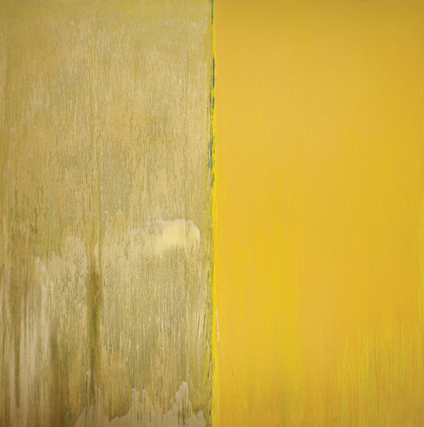 A recent work by Steir, NAPLES YELLOW AND MICA, 2013. COURTESY CHEIM & READ, NEW YORK