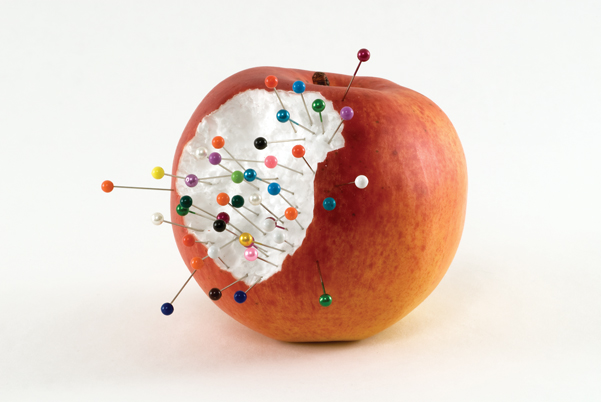 Rachel Harrison's Apple Multiple, 2008, interprets Cézanne with fake fruit and sewing pins. JASON MANDELLA/COURTESY THE ARTIST AND GREENE NAFTALI, NEW YORK