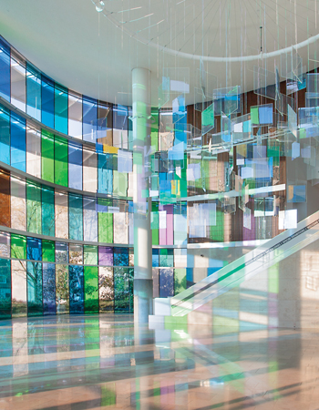 Following Nature, 2013, at the Indianapolis Museum of Art. The patchwork of filters and glass panes re-creates the light and colors of Monet's famous garden in Giverny. COURTESY INDIANAPOLIS MUSEUM OF ART