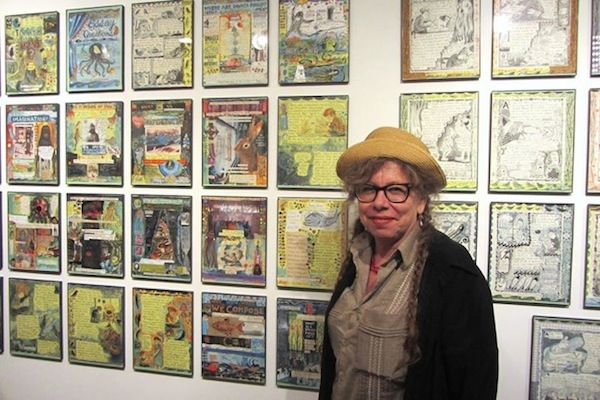 Lynda Barry with her work at Adam Baumgold Gallery.