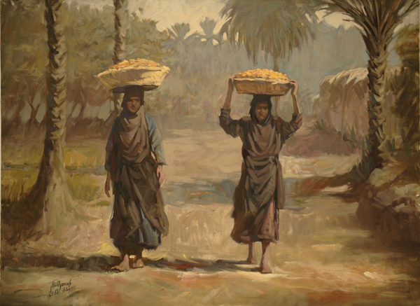 Bassim Al-Shaker, Date Sellers, 2011, oil on canvas. COURTESY AL-NAKHLA GALLERY. COURTESY THE ARTIST AND RUYA FOUNDATION.
