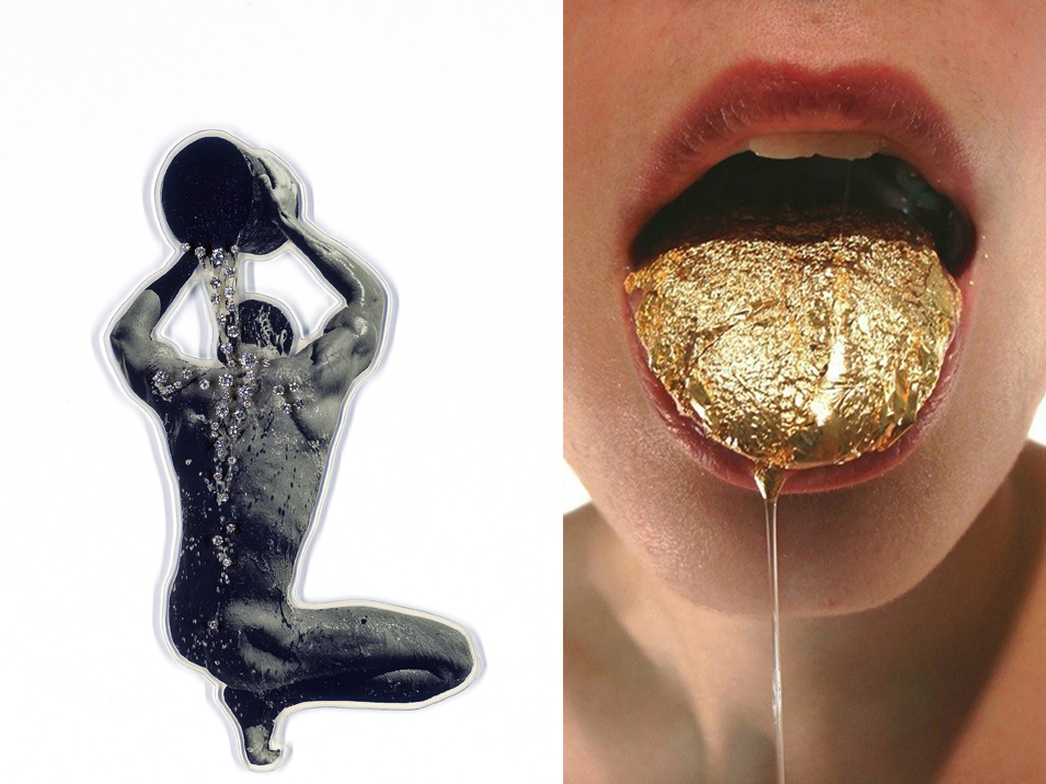 Left: Gijs Bakker, Waterman, 1991, copy of a postcard, diamonds, white gold 585, PVC. Right: Lauren Kalman, Tongue Gilding, 2009, digital video, 12 minutes. LEFT: COLLECTION OF ANGELA SCHAEFER. PHOTO: ©THOMAS VON DER HEIDEN. RIGHT: COURTESY THE ARTIST AND SIENNA PATTI. PHOTO: SIENNA PATTIA.