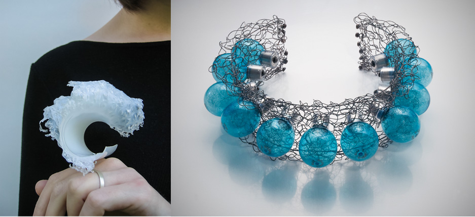 Left: Jaimie MacDonald, Wave Goodbye Ring, 2005, plastic film containers, metal. Right: Sandy Johanson, Flash Bulb Neckpiece, 2011, unfired Sylvania FP 26 Blue Dot flashbulbs ca. 1960, patinated sterling silver wire. BOTH: COLLECTION THE ARTIST.