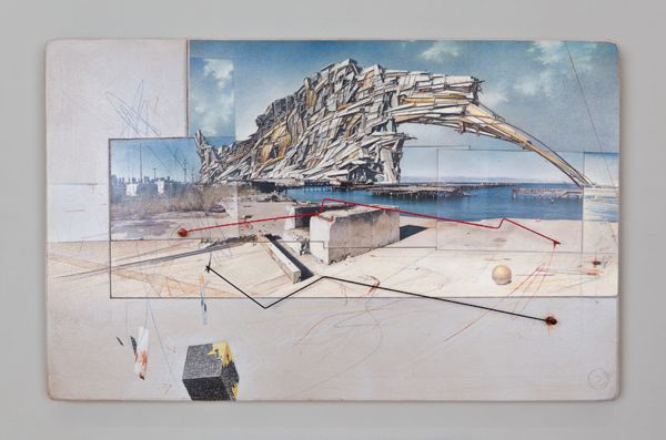 Lebbeus Woods, San Francisco Project: Inhabiting the Quake, Quake City, 1995, graphite and pastel on paper. COLLECTION SFMOMA, ACCESSIONS COMMITTEE FUND PURCHASE; ©ESTATE OF LEBBEUS WOODS.