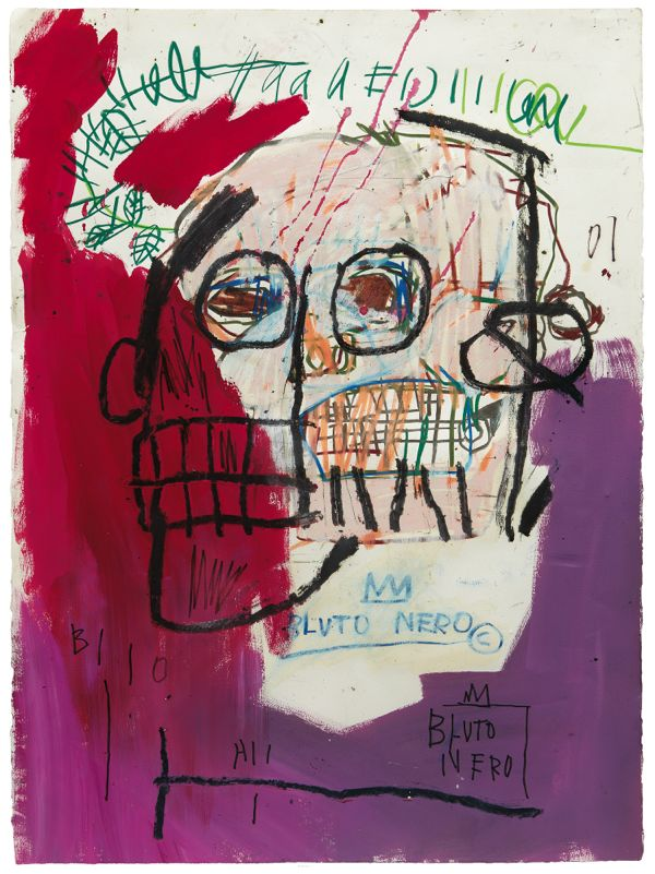 Jean-Michel Basquiat, Untitled (Bluto Nero),1982, acrylic and oilstick on paper. ©THE ESTATE OF JEAN-MICHEL BASQUIAT/ADAGP, PARIS/ARS, NEW YORK 2014, PHOTO BY KENT PELL