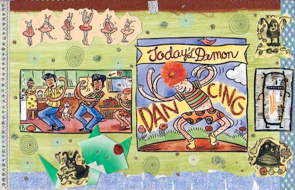 Lynda Barry, Today's Demon Dancing (title page 2) 2000, mixed media drawing collage on paper. COURTESY ADAM GOLDBAUM GALLERY.