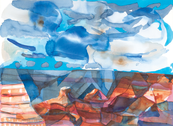 Elisabeth Condon's large paintings are built up from drawings and watercolors, such as Slipping Cheops Pyramid, 2013, painted during a visit to the Grand Canyon.COURTESY LESLEY HELLER WORKSPACE, NEW YORK