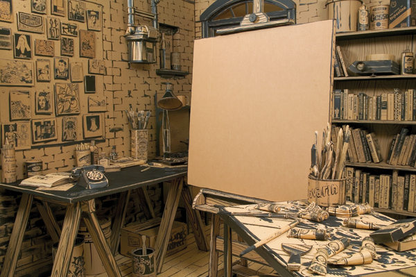 "The empty canvas dominating Tom Burckhardt's cardboard installation FULL STOP, 2004–5, expresses the artist's recurrent fear of ""feeling stuck.""COURTESY TIBOR DE NAGY GALLERY, NEW YORK"