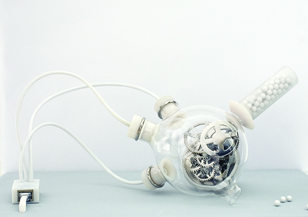 Revital Cohen and Tuur Van Balen, Artificial Biological Clock, 2008, glass, resin, nickel-plated brass, electronics. COURTESY THE ARTISTS.