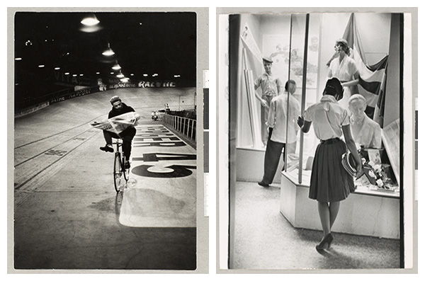 Left: Henri Cartier-Bresson, Course cycliste, les 6 jours de Paris, vélodrome, Paris, France, November 1957, silver gelatin print, vintage print. Right: Henri Cartier-Bresson, Camagüey, Cuba, 1963, silver gelatin print, vintage print. BOTH: COURTESY FONDATION HENRI CARTIER-BRESSON COLLECTION, PARIS. ©HENRI CARTIER-BRESSON/MAGNUM PHOTOS.