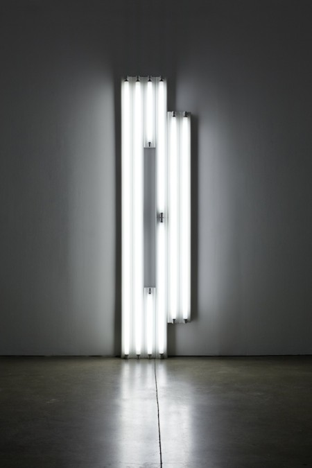 Dan Flavin, untitled (monument for V. Tatlin), 1967, cool white fluorescent light. COURTESY PAULA COOPER GALLERY, NY.