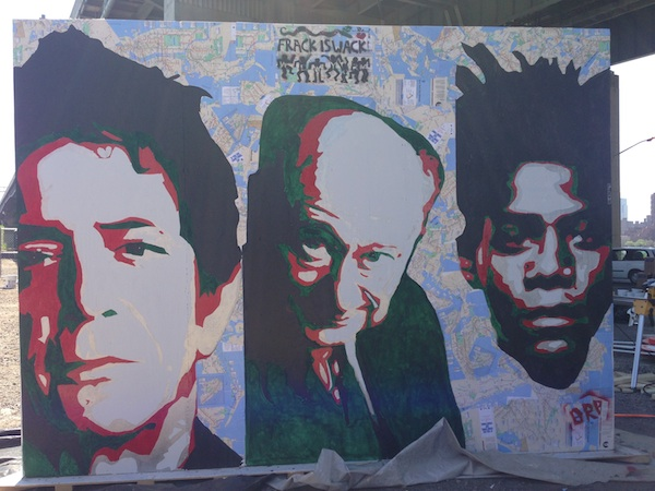 Juan Carlos Pinto's mural brings together three historical figures for New York's street art scene.