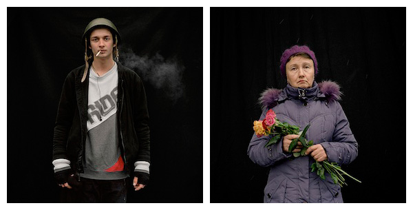 Left: Anastasia Taylor-Lind, Illia, age 18, protestor from Kiev, February 9th 2014. Right: Ira, age 50, Mourner from Kyiv, Feb 23rd 2014. BOTH: ©ANASTASIA TAYLOR-LIND.